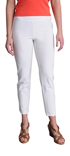 Eileen Fisher Washable Stretch Crepe Slim Ankle Pant w/Yoke Waistband (L, Bone)