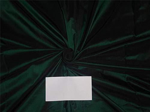 (Puresilks 100% Silk Taffeta Fabric Bottle Green x Black Color 54