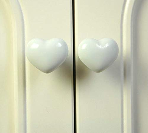 - Love Heart Ceramic Cabinet Door Cupboard Drawer Handle Pull Knob White 50mm