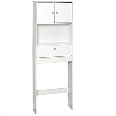 Zenna Home 9401W, Drop Door Bathroom Spacesaver, White