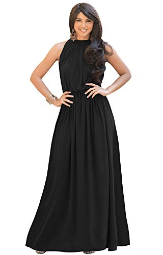 KOH KOH Plus Size Womens Long Sexy Sleeveless Bridesmaid Halter Neck Wedding Party Guest Summer Flowy Casual Brides Formal Evening A-line Gown Gowns Maxi Dress Dresses, Black XL 14-16