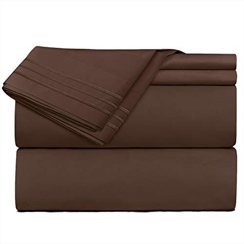 Nestl Bedding 3 Piece Sheet Set - 1800 Deep Pocket Bed Sheet Set - Hotel Luxury Double Brushed Microfiber Sheets - Deep Pocket Fitted Sheet, Flat Sheet, Pillow Cases, Twin - Brown