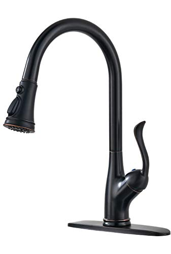 Oil Single Rubbed Bronze - APPASO Single Handle Pull Down Kitchen Faucet with 3-Function Sprayer Oil Rubbed Bronze, Single Hole High Arc Pull Out Spray Head Kitchen Sink Faucet with Deck Plate, K148-ORB