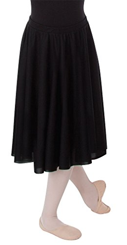 Adult Circle Skirt - Body Wrappers Girls Dance Fever Below-The-Knee Circle Skirt, Black, 8-10