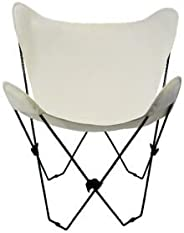 """35"""" Retro Style Outdoor Patio Butterfly Chair with Natural Cotton Duck Fabric Cover"""