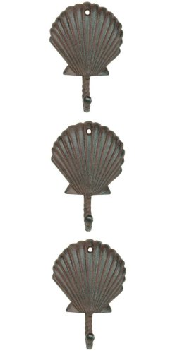 - Scallop Shell Wall Hangers Cast Iron Antique Brown - Set of 3 for Coats, Aprons, Hats, Towels, Pot Holders, More
