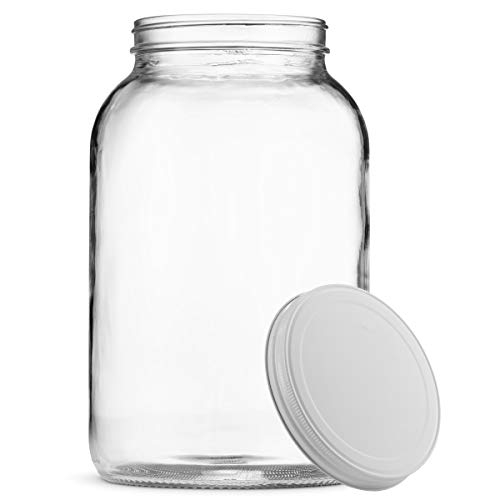 Paksh Novelty 1-Gallon Glass Jar Wide Mouth with Airtight Metal Lid - USDA Approved BPA-Free Dishwasher Safe Mason Jar for Fermenting, Kombucha, Kefir, Storing and Canning Uses, Clear]()