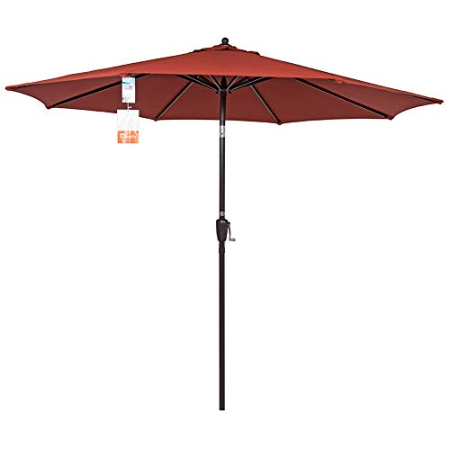 Sundale Outdoor 9 Ft Sunbrella Fabric Patio Garden Market Umbrella, Push Button Tilt and Crank (Terracotta)