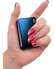 Bscame Powerbank 10 000 mAh, litet och lätt externt batteri mini, extra kompakt, 2 USB-utgångar och LCD-skärm kompatibel med iPhone, Samsung, Huawei, iPad och mer (svart)