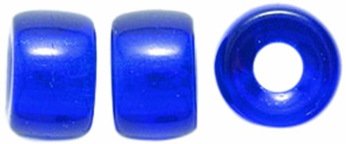 Preciosa Ornela Traditional Czech Glass Crow Roller Beads, 9mm, Transparent Cobalt, 50-Pack
