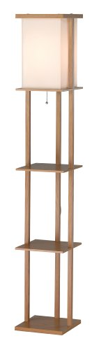 Adesso Shelf - Adesso 3451-16 Barbery 63 In. Floor Lamp - Oakwood Floor Lamp with Three Storage Shelves. Home Decor and Lighting