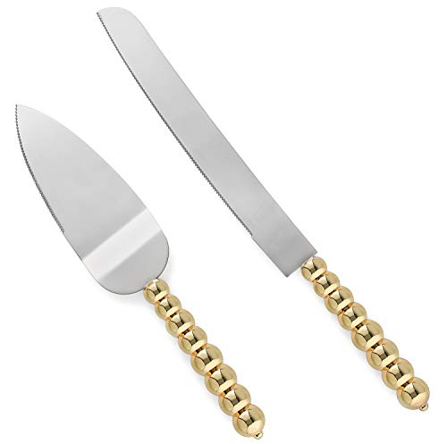 Homi Styles Cake Server Set with Knife | Elegant Gold Color With Beaded Handles & Premium 420 Stainless Steel Blades | Cake & Pie Serving Set For Wedding Cake, Birthdays, Anniversaries, Parties ()
