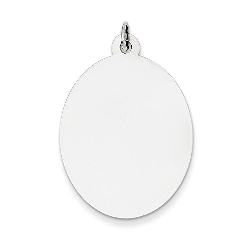 .925 Sterling Silver Engraveable Oval Disc Charm - Engraveable Oval Charm Disc