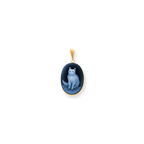 Roy Rose Jewelry 14K Yellow Gold 13x18 Sitting Cat Oval Blue/White Agate Cameo Pendant