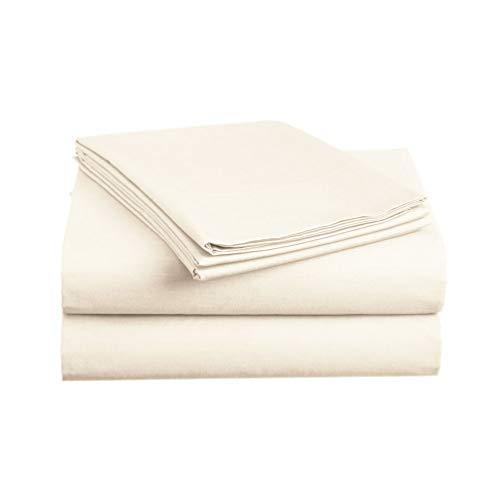 (Luxe Bedding Sets - Microfiber Sheet Set 4 Piece Bed Sheets, Deep Pocket Fitted Sheet, Flat Sheet, Pillow Case, Ivory, Queen Size)