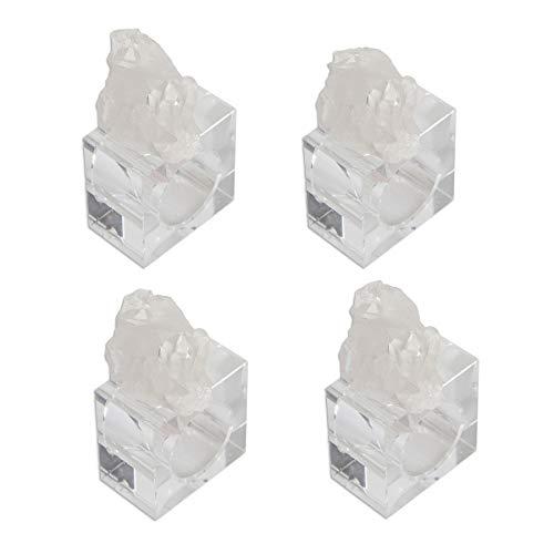 "AMOYSTONE Clear Quartz Linen Napkin Rings Holder Weddings Partie Table Décor 4pcs Irregular 2.5"""