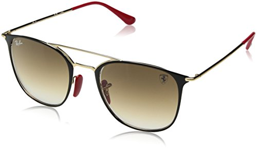 Ray-Ban RB3601M Scuderia Ferrari Collection Square Sunglasses, Black on Gold/Brown Gradient, 52 ()