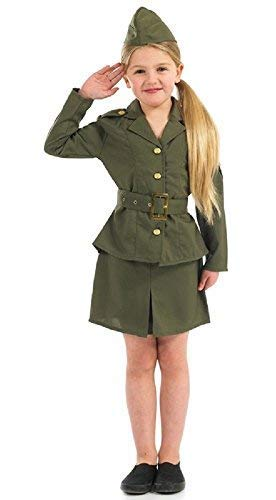 Girls WW2 WW1 Army Military Armed Forces Uniform Book Day Fancy Dress Costume Outfit (4-6 Years) - Armed Forces Uniforms