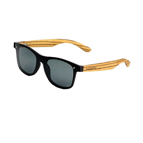 Wood Sunglasses Polarized for Women and Men - Wood Frame Sunglasses with Flat Mirror Lens