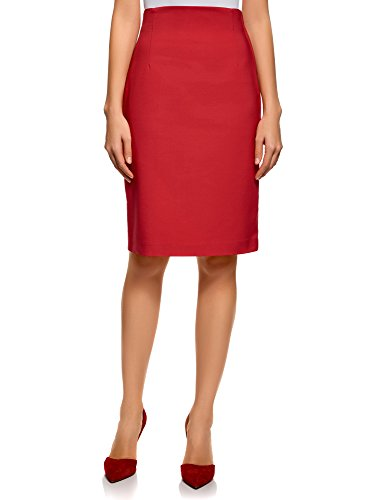 oodji Collection Femme Jupe Coupe Droite Taille Haute Rouge (4500n)