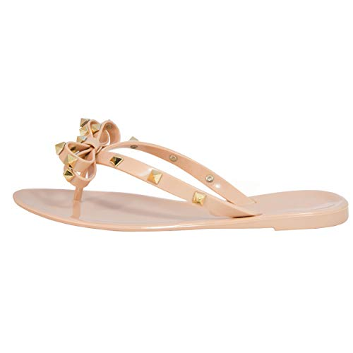 Studded Bow Jelly Thong Sandals Valencia-Valentino Rock St Women's Rockstud Flip Flop (9US, Nude)