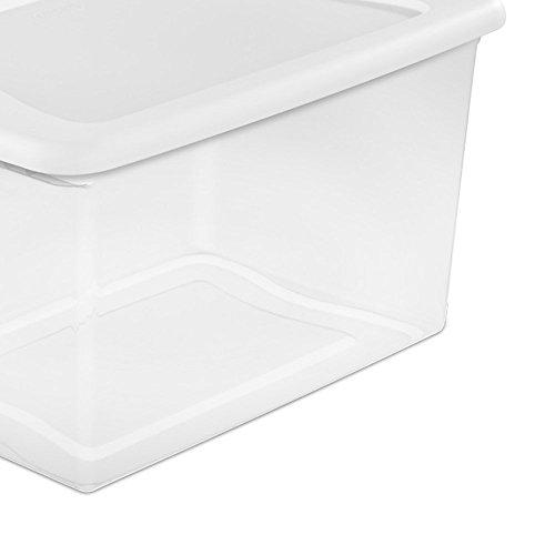 Sterilite 64 Plastic Box, Clear w/Blue
