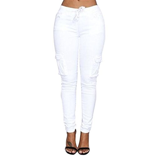 Casual Solid Stretch Drawstring Skinny Pants For Women Trousers (XL, White)