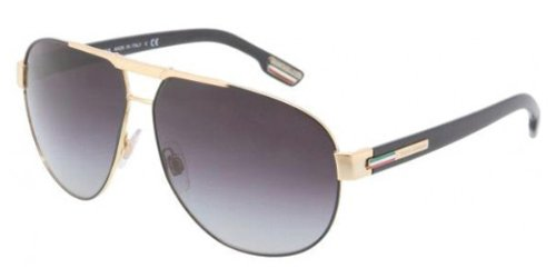 Dolce and Gabbana DG2099 10818G Black / Gold Gym Aviator Sunglasses Lens - Dolce Sunglasses