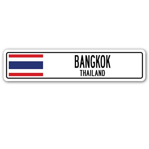 Bangkok, Thailand Street Sign Thai Flag City Country Road Wall Gift