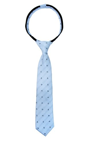 - Spring Notion Boys' Pre-tied Woven Zipper Tie Large Blue Silver Anchor