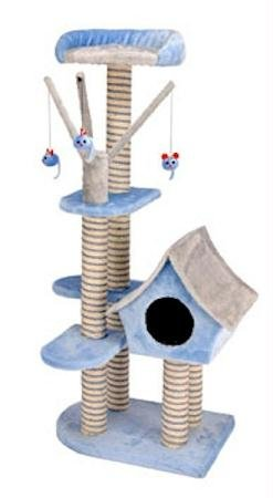 Cat-Life Deluxe Cat Cottage with Lounging Tower and Scratching Post, Blue/Gray – 21 x 14 x 50 Inches (WxDxH), My Pet Supplies