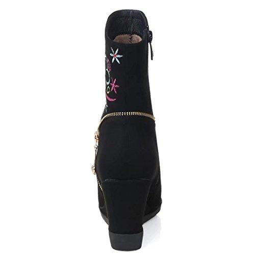 Stickerei Wildleder Heel KingRover High Stiefeletten Kurze Slip Schwarz Damenmode On RqwA6q