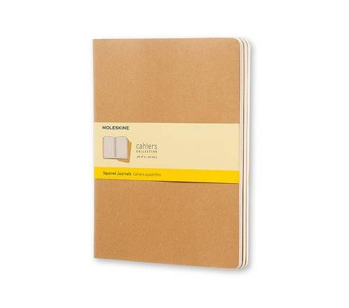 Moleskine Cahier Journal (Set of 3), Extra Large, Squared, Kraft Brown, Soft Cover (7.5 x 10)