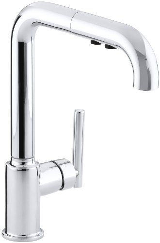 (KOHLER K-7505-CP Purist Primary Pullout Kitchen Faucet, Polished Chrome)