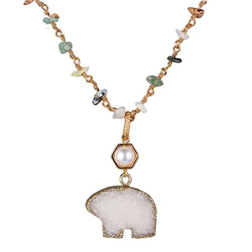 Unique White Bear Natural Crystal Freshwater Pearl Pendant Gold Plating Handmade Gem Beads Adjustable Charm Necklace White 50cm