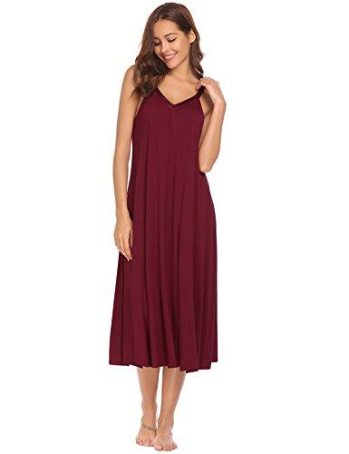 (Ekouaer Womens Sleeveless Nightgown Sleepwear Summer Slip Nightdress, 8358-wine, X-Large)