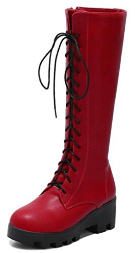 IDIFU Women's Casual Mid Chunky Heels Platform Lace up Full Zip Mid Calf Boots (Red, 7 B(M) US) by IDIFU