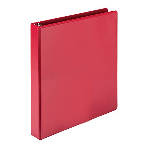 Samsill Economy 3 Ring Presentation View Binder, 1 Inch Round Ring – Holds 200Sheets, Customizable Clear View Cover, Red