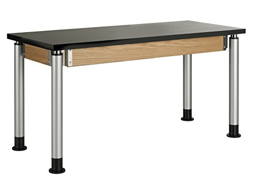 - Diversified Woodcraft P8202K UV Finish Plain Adjustable Height Table with Chemguard Top, 54