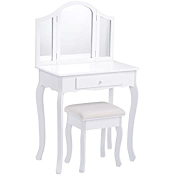 white chair for vanity. Giantex Bathroom Vanity Makeup Table Set w  Tri folding Mirror Cushioned Stool Dressing Amazon com KidKraft Deluxe Chair Toy Kitchen Dining