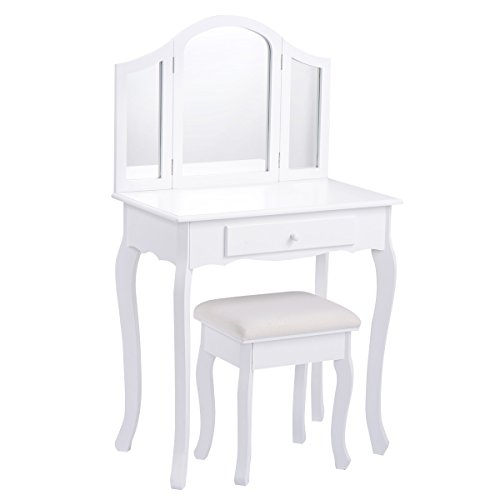 Giantex Vanity Makeup Table Set w/ Tri-folding Mirror & Cushioned Stool Bedroom Dressing Table (White) by Giantex