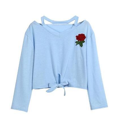 5Five Donne Moda Breve Rose Stampa Colture Felpa Top Camicetta Leggera Sky Blue