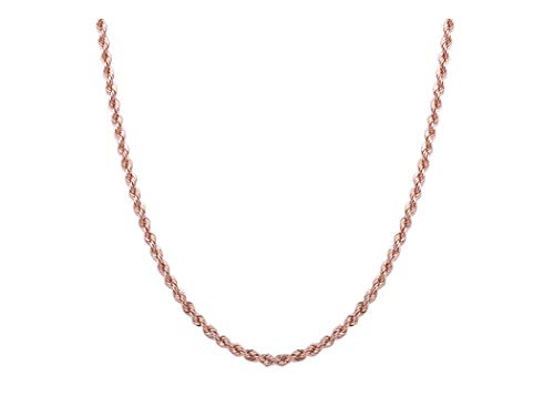 Sterling Silver 2mm diamond cut rope chain necklace- Made In Italy (Rose, -