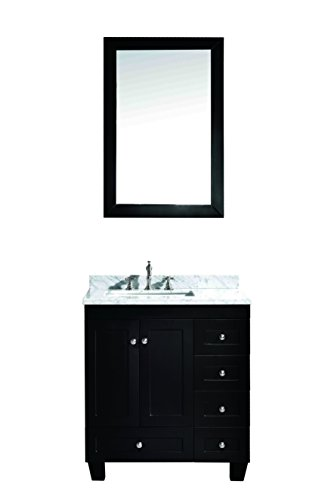 "Eviva EVVN69-30ES Acclaim C. 30"" Transitional Espresso white carrara marble counter-top bathroom Vanities - Solid wood construction, cabinet is assembled and is ready for installation Hardware included Soft closing doors & drawers - bathroom-vanities, bathroom-fixtures-hardware, bathroom - 31cke3ygZ4L -"