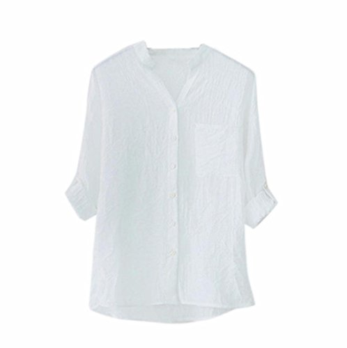Tee Shirt Hauts Tops Tunique Bouton Longue Blanc V Chemisier Loisirs Covermason Chemise Col Blouse Manches Femme xq6AOS7