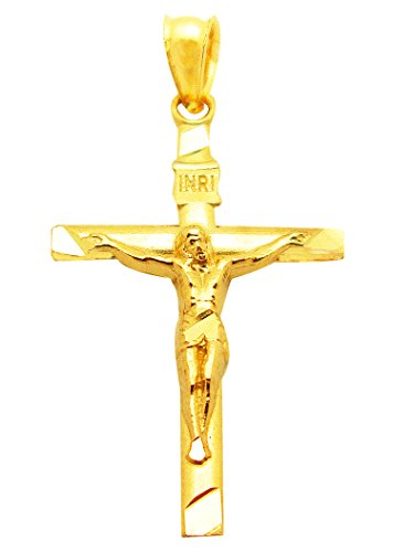 Men's Women's 10K Yellow Gold Crucifix Pendant Gold Small Cross Charm - 10k Crucifix