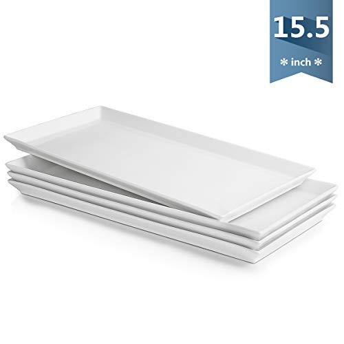Sweese 703.101 White Serving Platters, Porcelain Serving Trays for Parties, Rectangular Plates - 15.5 Inch, Set of 4]()