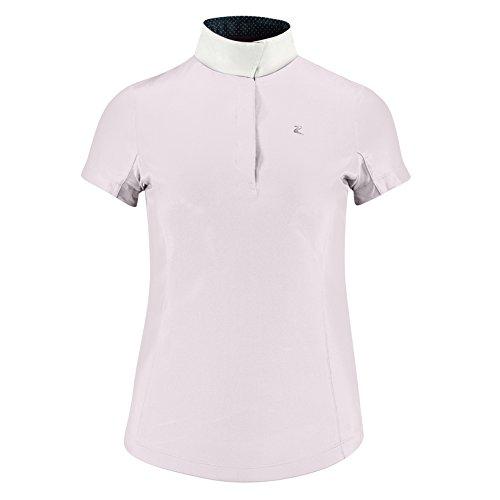 Horze Blaire Ladies UV Ice Fit Short Sleeve Show Shirt Chalk Pink 10 - Ladies Show Shirt
