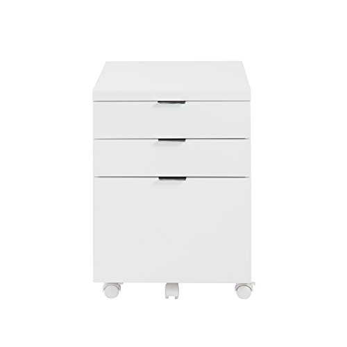 - Eurø Style Gilbert High Gloss Lacquered Mobile Filing Cabinet, White