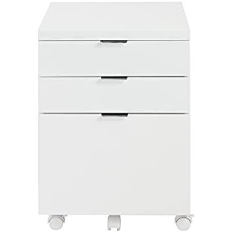 Eur Style Gilbert High Gloss Lacquered Mobile Filing Cabinet White
